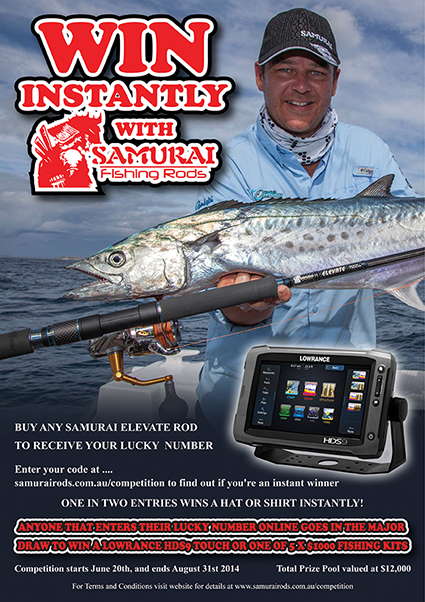 Samurai Win Instantly giveaway shirt cap lowrance sounder