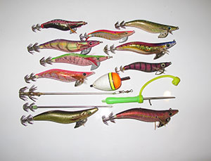 selection of squid jigs and accessories
