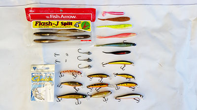 selection of trout fishing lures