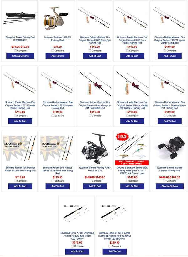 fishing gear on sale