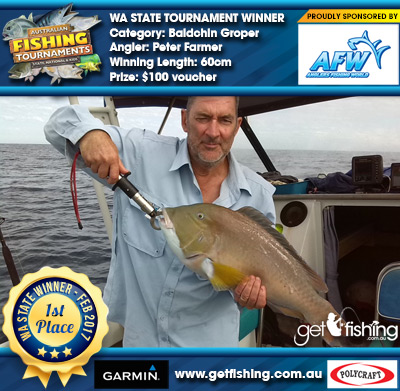 Baldchin Groper 60cm Peter Farmer Anglers Fishing World $100 voucher