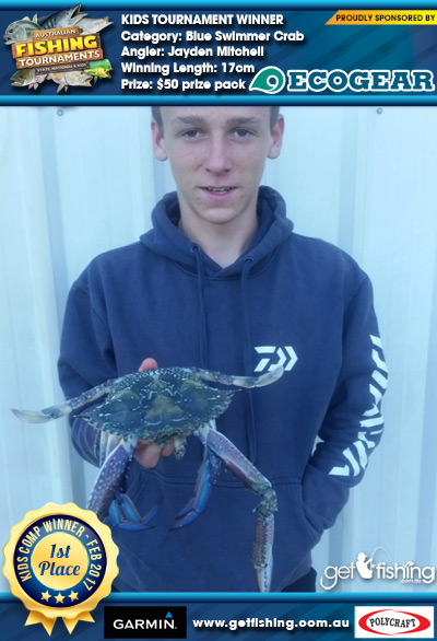 Blue Swimmer Crab 17cm Jayden Mitchell Ecogear $50 prize pack