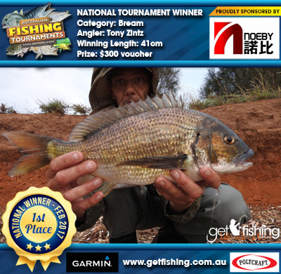 Bream 41cm Tony Zintz Noeby Tackle $300 voucher