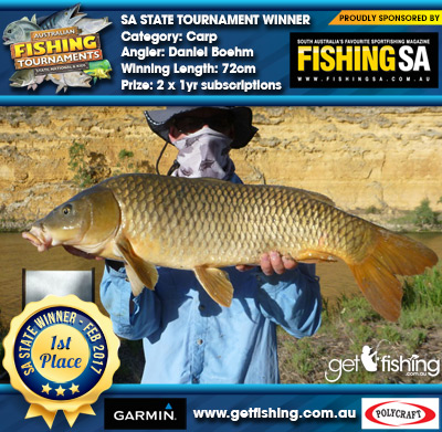Carp 72cm Daniel Boehm Fishing SA 2 x 1yr subscriptions