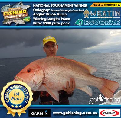 Emperor/Nannygai/Coral Trout 94cm Bruce Quinn Ecogear/Westin $300 prize pack
