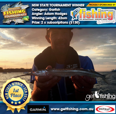 Garfish 42cm Adam Hodges NSW Fishing Monthly Magazine 2 x subscriptions ($130 value)