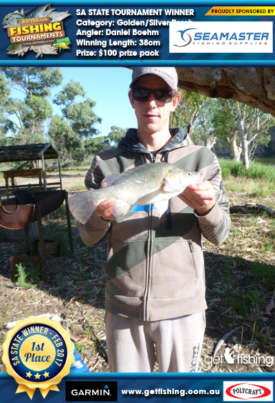 Golden/Silver Perch 38cm Daniel Boehm Seamaster Fishing Supplies $100 prize pack