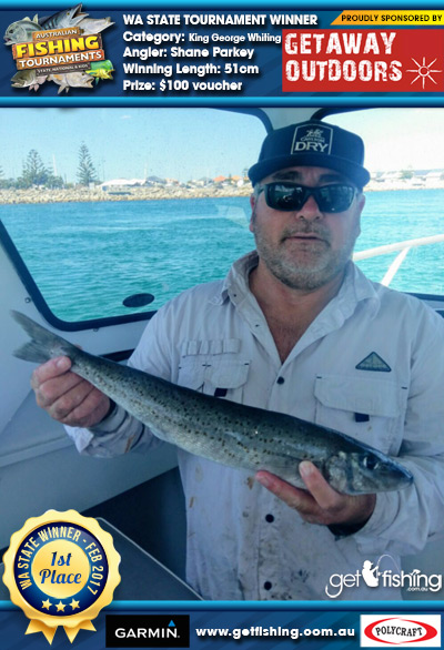 King George Whiting 51cm Shane Parkey Getaway Outdoors $100 voucher