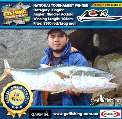 Kingfish 106cm Nhadier Addala Lox $380 rod/brag mat