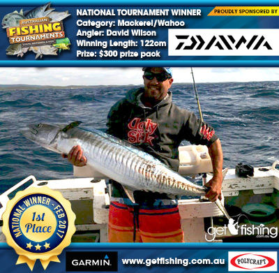 Mackerel/Wahoo 122cm David Wilson Daiwa $300 prize pack