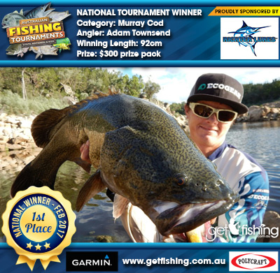 Murray Cod 92cm Adam Townsend Richter Lures $300 prize pack