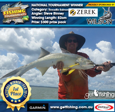 Threadfin Salmon 82cm Steve Binney Wilson/Zerek $300 prize pack