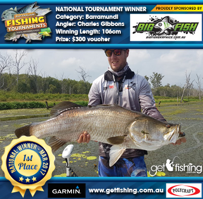 Barramundi 106cm Charles Gibbons Bigfish Graphics $300 voucher