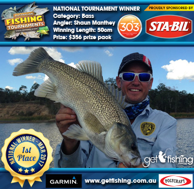 Bass 50cm Shaun Manthey STA-BIL Marine and 303 Protectants and Cleaners $356 prize pack