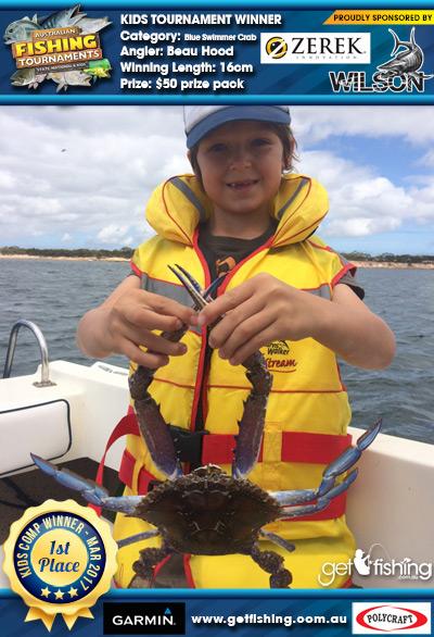 Blue Swimmer Crab 16cm Beau Hood Wilson & Zerek $50 prize pack