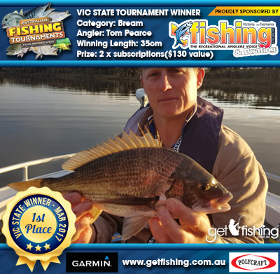 Bream 35cm Tom Pearce VIC Fishing Monthly 2 x subscriptions($130 value)