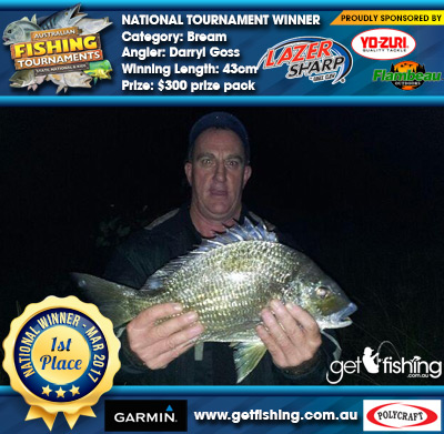 Bream 43cm Darryl Goss Eagle Claw/Yo-Zuri $300 prize pack