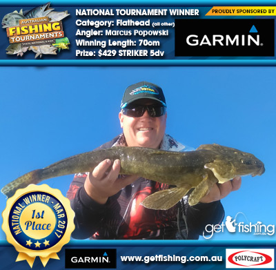 Flathead (all other) 70cm Marcus Popowski Garmin $429 STRIKER 5dv