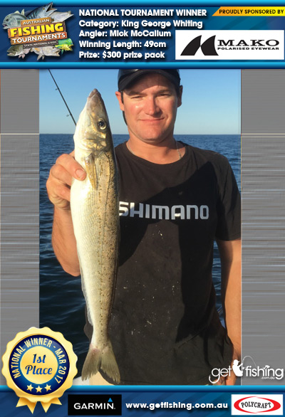 King George Whiting 49cm Mick McCallum Mako Eyewear $300 prize pack