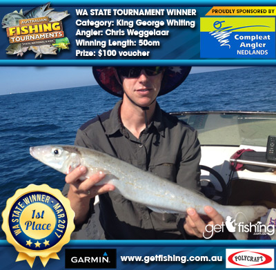 King George Whiting 50cm Chris Weggelaar Compleat Angler Nedlands $100 voucher