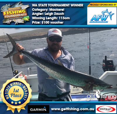 Mackerel 113cm Leigh Zauch Anglers Fishing World $100 voucher