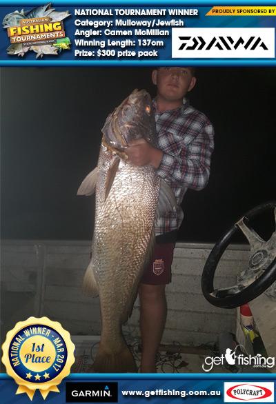 Mulloway/Jewfish 137cm Camen McMillan Daiwa $300 prize pack