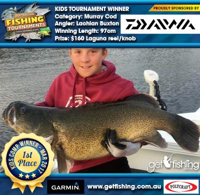 Murray Cod 97cm Lachlan Buxton Daiwa $160 Laguna reel/knob