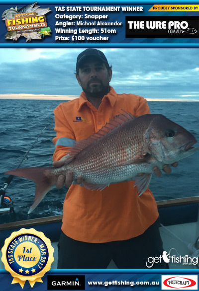 Snapper 51cm Michael Alexander The Lure Pro $100 voucher