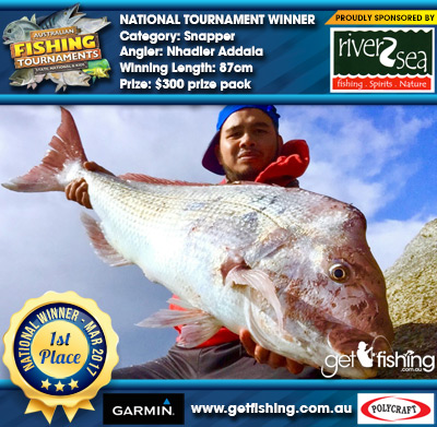 Snapper 87cm Nhadier Addala River2Sea $300 prize pack