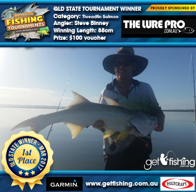Threadfin Salmon 88cm Steve Binney The Lure Pro $100 voucher