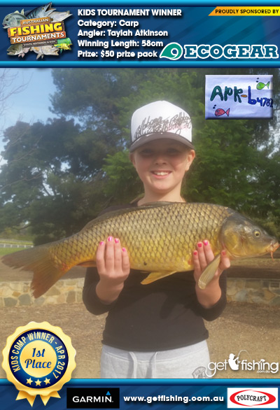 Carp 58cm Taylah Atkinson Ecogear $50 prize pack
