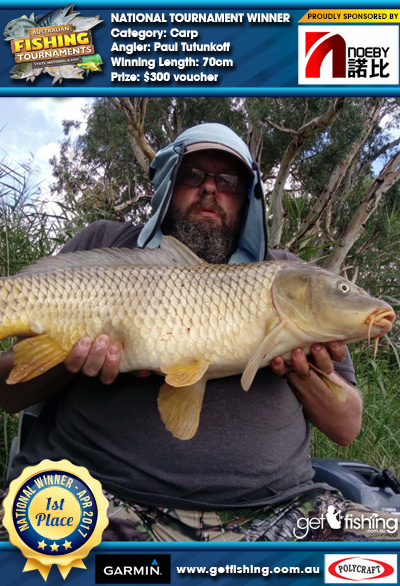 Carp 70cm Paul Tutunkoff Noeby Tackle $300 voucher