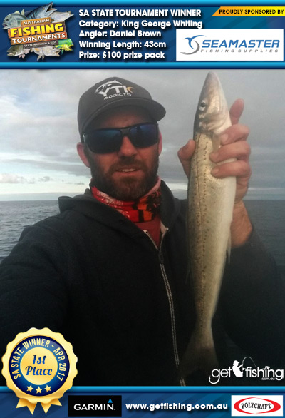 King George Whiting 43cm Daniel Brown Seamaster Fishing Supplies $100 prize pack