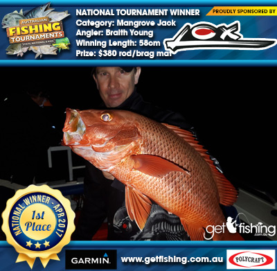 Mangrove Jack 58cm Braith Young Lox $380 rod/brag mat