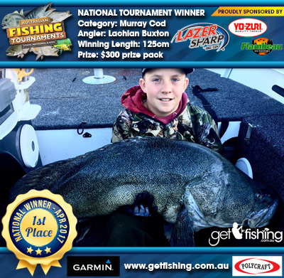Murray Cod 125cm Lachlan Buxton Eagle Claw/Yo-Zuri $300 prize pack