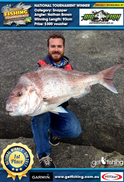 Snapper 93cm Nathan Brown Bigfish Graphics $300 voucher