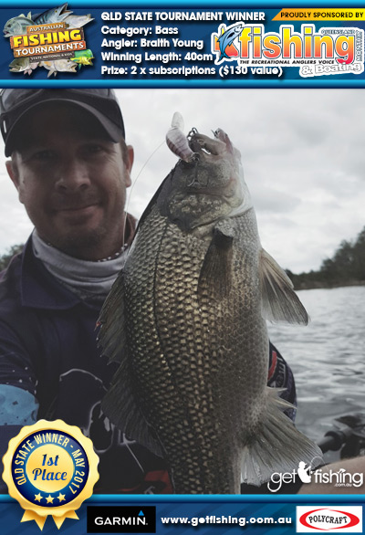 Bass 40cm Braith Young Fishing Monthly QLD 2 x subscriptions ($130 value)