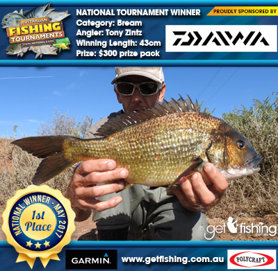 Bream 43cm Tony Zintz Daiwa $300 prize pack