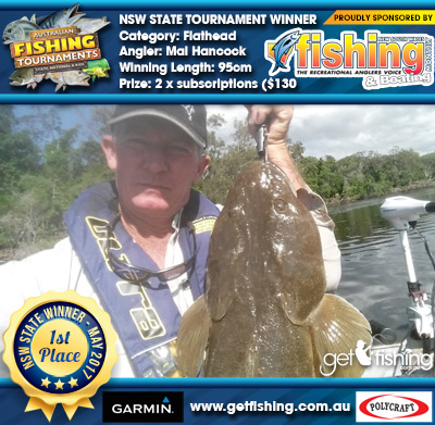 Flathead 95cm Mal Hancock NSW Fishing Monthly Magazine 2 x subscriptions ($130 value)