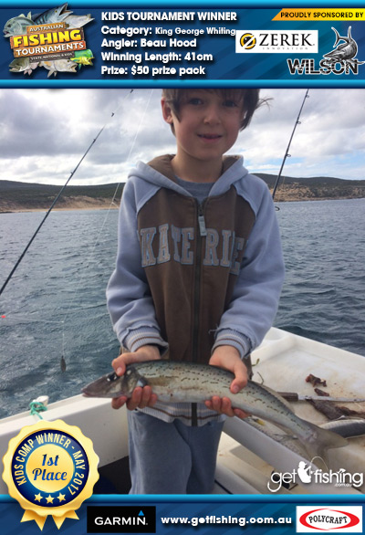 King George Whiting 41cm Beau Hood Wilson & Zerek $50 prize pack