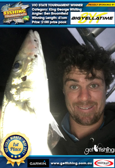 King George Whiting 41cm Ben Broomfield Big Yella Time $100 prize pack