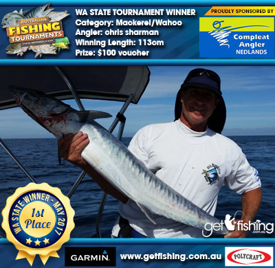 Mackerel/Wahoo 113cm chris sharman Compleat Angler Nedlands $100 voucher