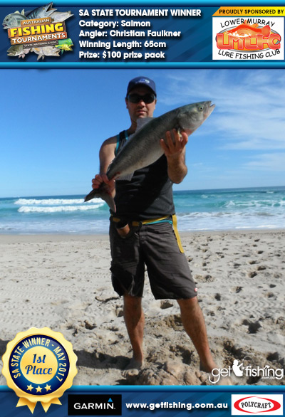 Salmon 65cm Christian Faulkner Lower Murray Lure Fishing Club $100 prize pack
