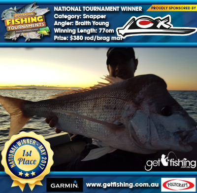 Snapper 77cm Braith Young Lox $380 rod/brag mat