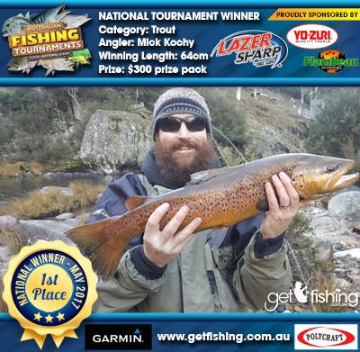 Trout 64cm Mick Kochy Eagle Claw/Yo-Zuri $300 prize pack