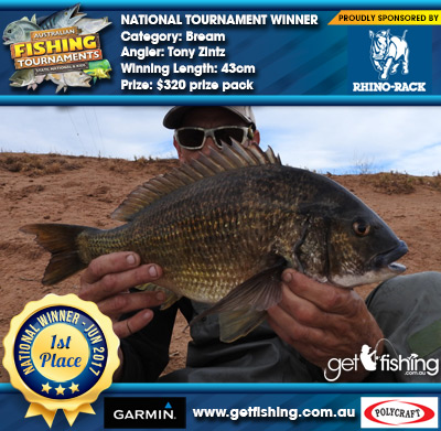 Bream 43cm Tony Zintz Rhino Rack $320 prize pack
