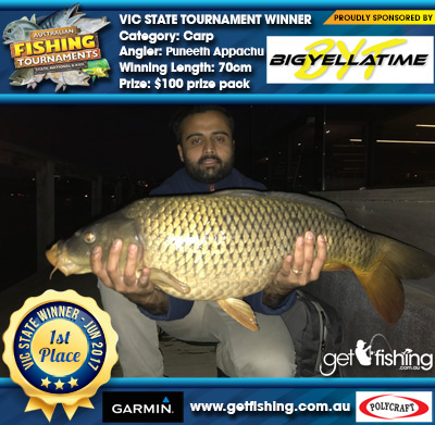 Carp 70cm Puneeth Appachu Big Yella Time $100 prize pack