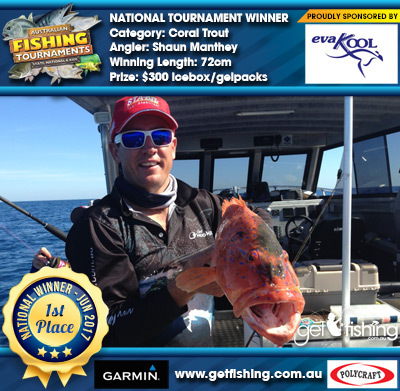 Coral Trout 72cm Shaun Manthey Evakool/IceMate $300 icebox/gelpacks