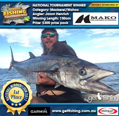 Mackerel/Wahoo 150cm Jason Henrich Mako Eyewear $300 prize pack
