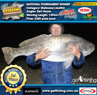 Mulloway/Jewfish 139cm Bert Hayes Eagle Claw/Yo-Zuri $300 prize pack